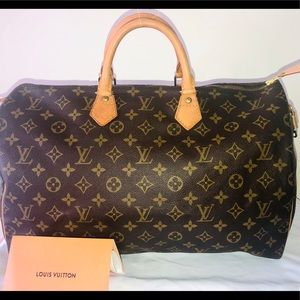Auth Louis Vuitton Monogram Speedy 40+RECEIPT